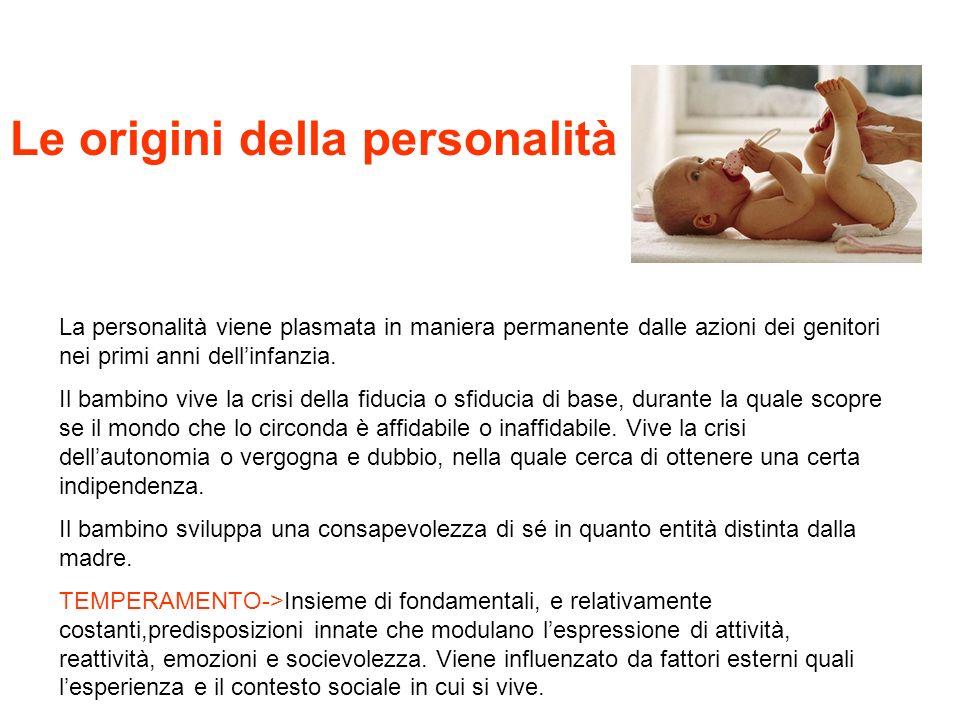 Le origini della personalità La personalità viene plasmata in maniera permanente dalle azioni dei genitori nei primi anni dellinfanzia. Il bambino viv