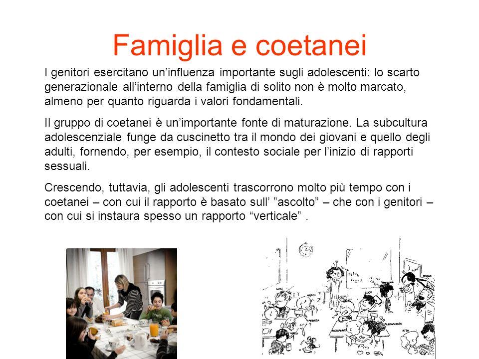 Famiglia e coetanei I genitori esercitano uninfluenza importante sugli adolescenti: lo scarto generazionale allinterno della famiglia di solito non è