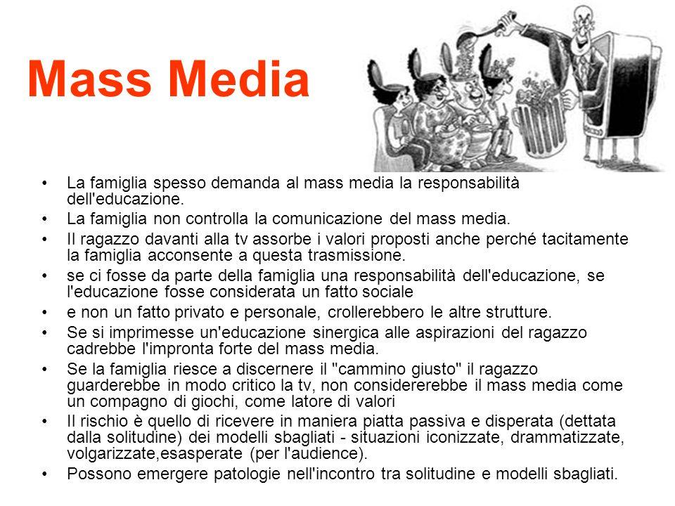 Mass Media La famiglia spesso demanda al mass media la responsabilità dell'educazione. La famiglia non controlla la comunicazione del mass media. Il r