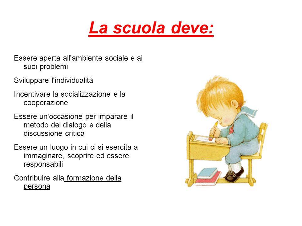 La scuola deve: Essere aperta all'ambiente sociale e ai suoi problemi Sviluppare l'individualità Incentivare la socializzazione e la cooperazione Esse