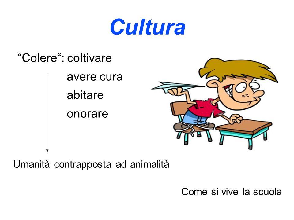 Cultura Colere: coltivare avere cura abitare onorare Umanità contrapposta ad animalità Come si vive la scuola