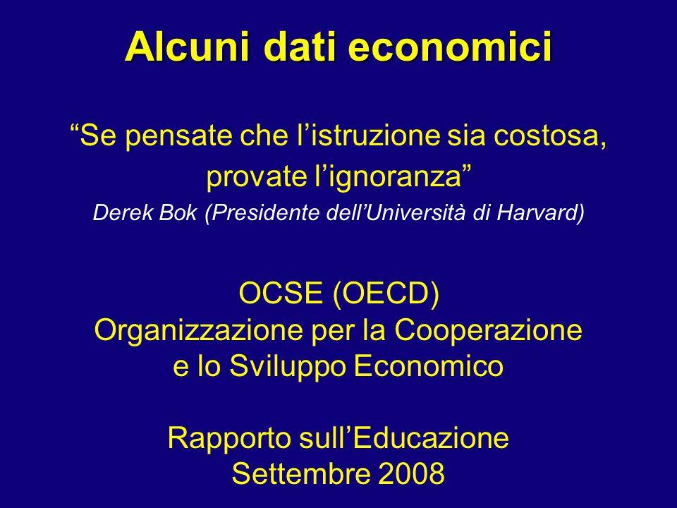 Alcuni dati economici Se pensate che listruzione sia costosa, provate lignoranza Derek Bok (Presidente dellUniversità di Harvard) OCSE (OECD) Organizz