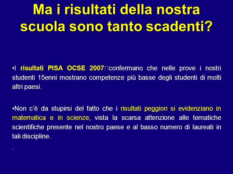 Ma i risultati della nostra scuola sono tanto scadenti? I risultati PISA OCSE 2007 confermano che nelle prove i nostri studenti 15enni mostrano compet