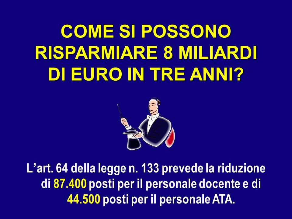 COME SI POSSONO RISPARMIARE 8 MILIARDI DI EURO IN TRE ANNI? L art. 64 della legge n. 133 prevede la riduzione di 87.400 posti per il personale docente
