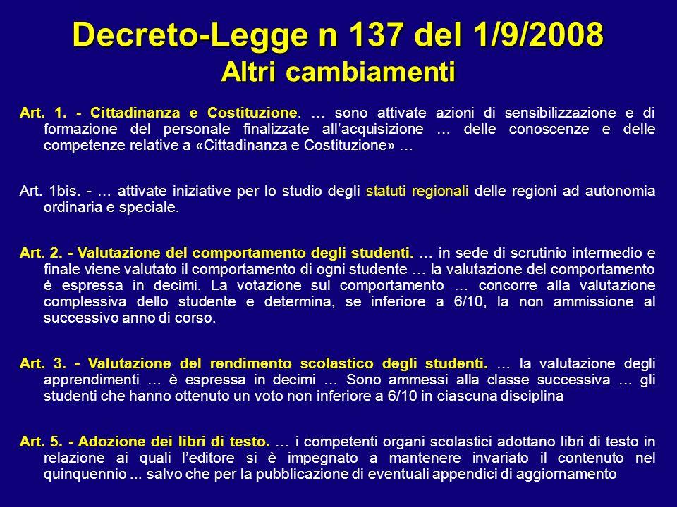 Decreto-Legge n 137 del 1/9/2008 Altri cambiamenti Art. 1. - Cittadinanza e Costituzione. … sono attivate azioni di sensibilizzazione e di formazione