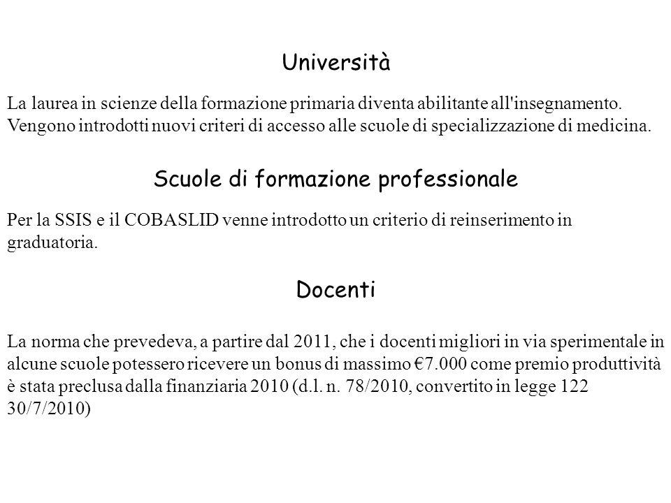 Università La laurea in scienze della formazione primaria diventa abilitante all'insegnamento. Vengono introdotti nuovi criteri di accesso alle scuole