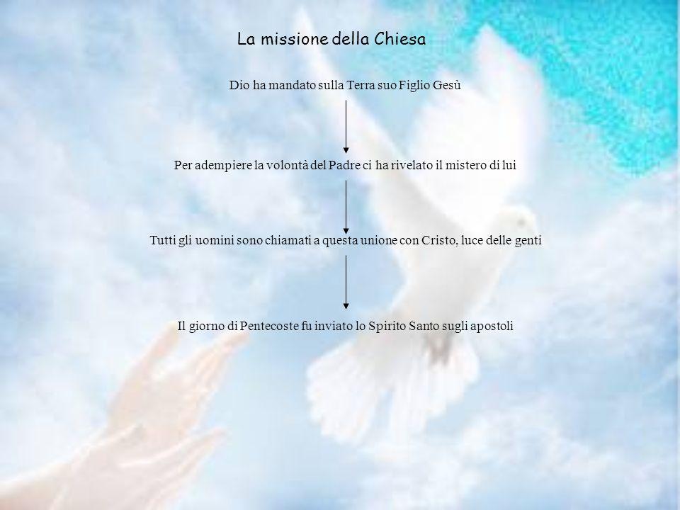 La missione della Chiesa Dio ha mandato sulla Terra suo Figlio Gesù Per adempiere la volontà del Padre ci ha rivelato il mistero di lui Tutti gli uomi