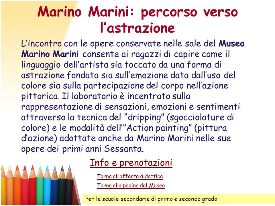 Marino Marini: percorso verso lastrazione Torna allofferta didattica Lincontro con le opere conservate nelle sale del Museo Marino Marini consente ai