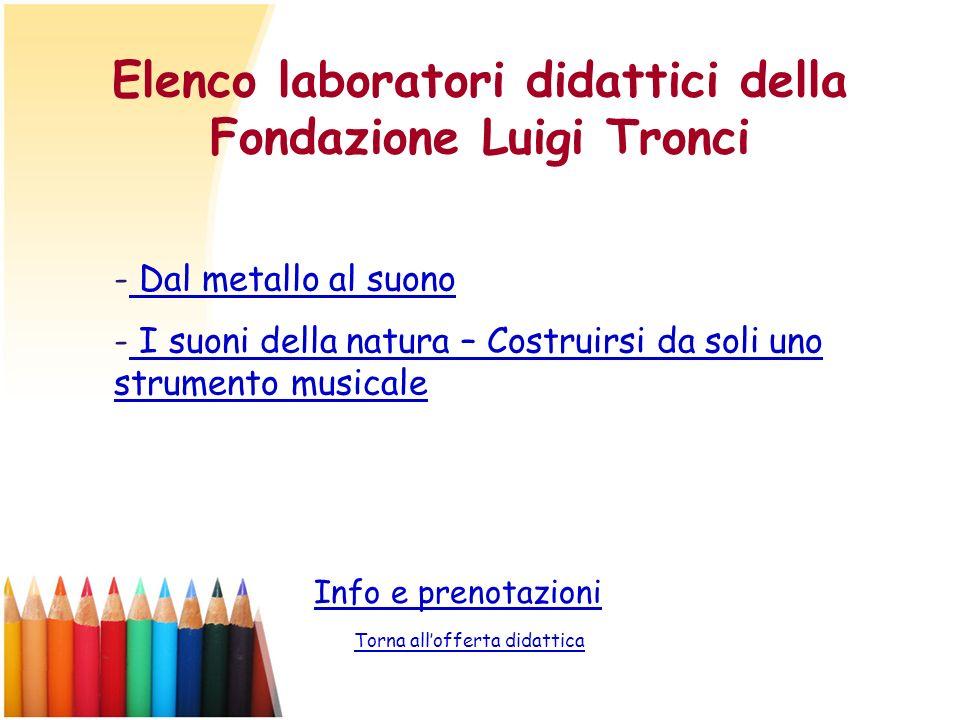 Elenco laboratori didattici della Fondazione Luigi Tronci Info e prenotazioni Torna allofferta didattica - Dal metallo al suono Dal metallo al suono -