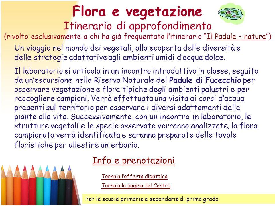 Flora e vegetazione Itinerario di approfondimento (rivolto esclusivamente a chi ha già frequentato litinerario Il Padule – natura)Il Padule – natura U