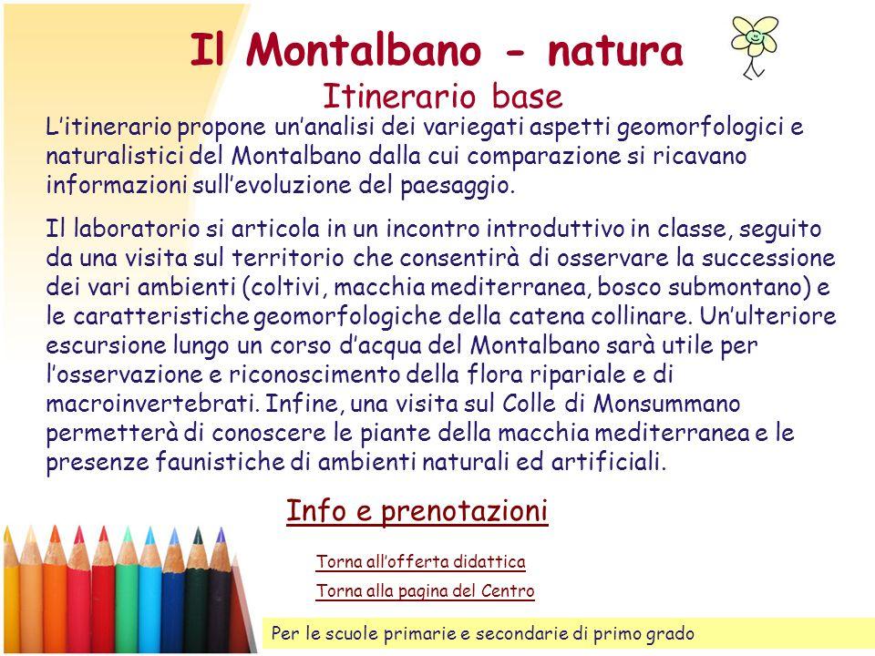 Il Montalbano - natura Itinerario base Litinerario propone unanalisi dei variegati aspetti geomorfologici e naturalistici del Montalbano dalla cui com