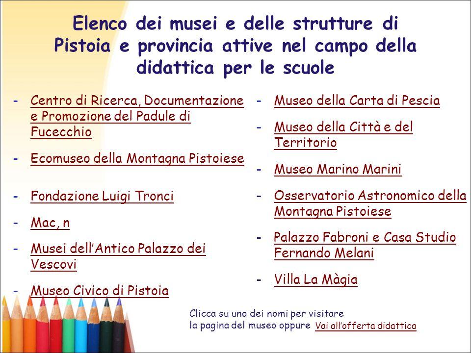Elenco dei musei e delle strutture di Pistoia e provincia attive nel campo della didattica per le scuole -Centro di Ricerca, Documentazione e Promozio