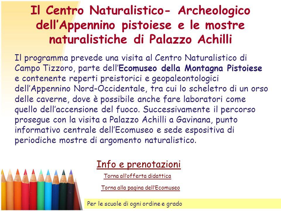 Il Centro Naturalistico- Archeologico dellAppennino pistoiese e le mostre naturalistiche di Palazzo Achilli Il programma prevede una visita al Centro