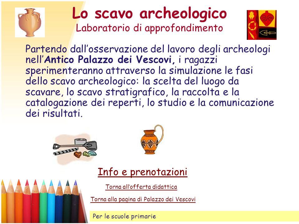 Lo scavo archeologico Laboratorio di approfondimento Partendo dallosservazione del lavoro degli archeologi nellAntico Palazzo dei Vescovi, i ragazzi s