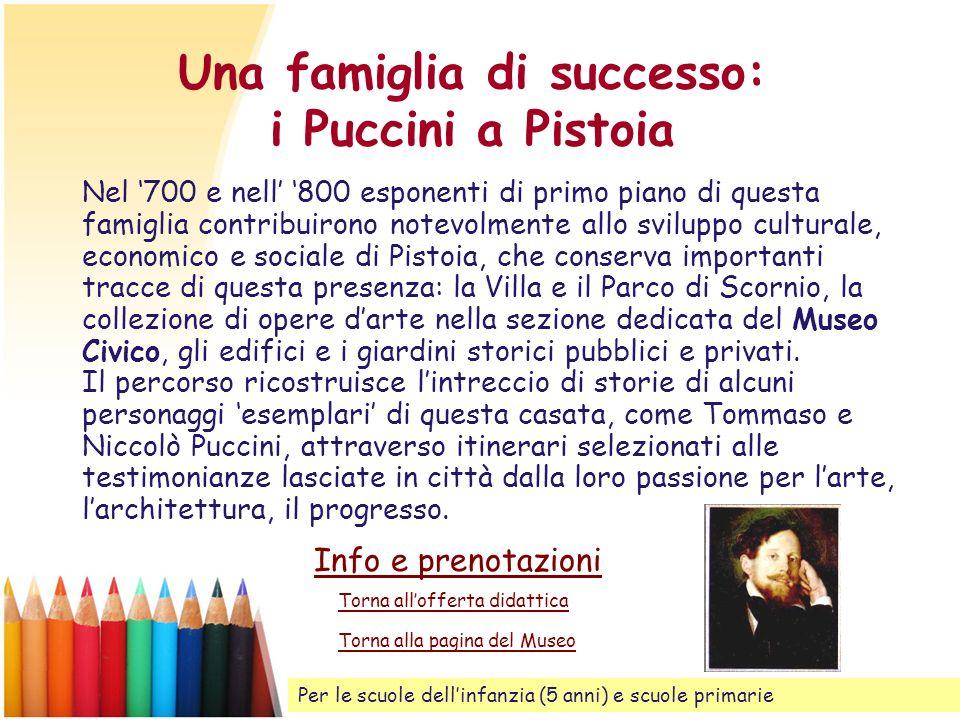 Una famiglia di successo: i Puccini a Pistoia Nel 700 e nell 800 esponenti di primo piano di questa famiglia contribuirono notevolmente allo sviluppo