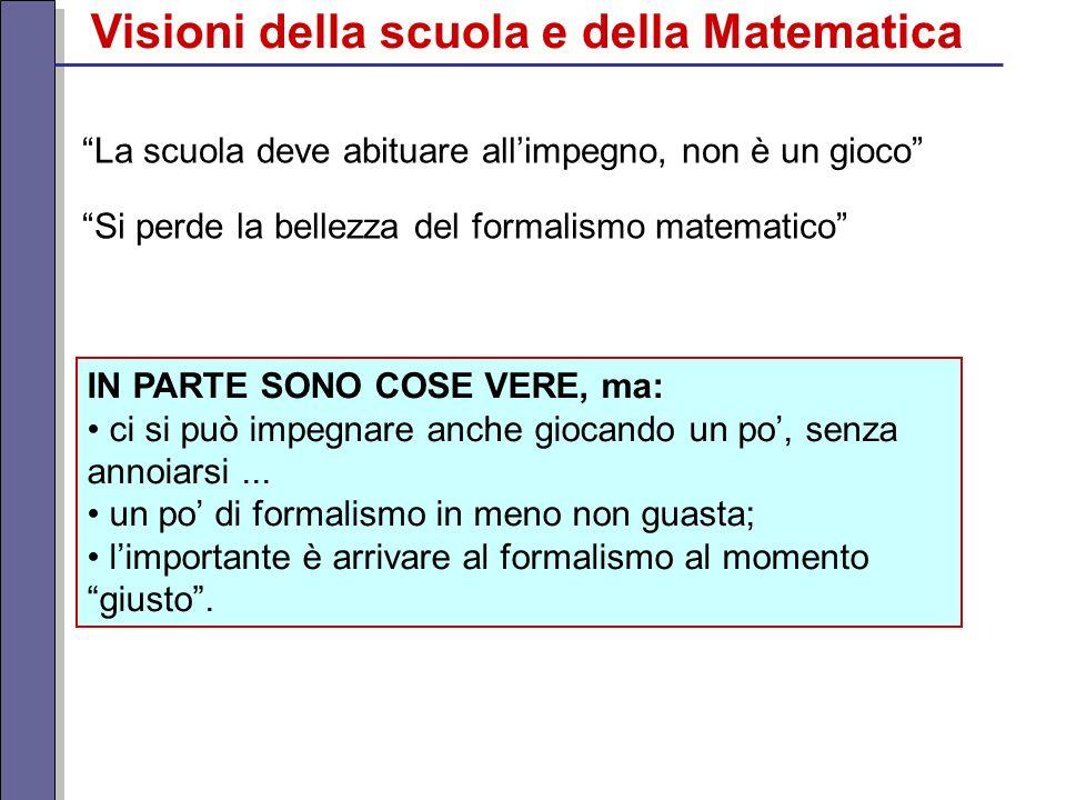 Si perde la bellezza del formalismo matematico La scuola deve abituare allimpegno, non è un gioco IN PARTE SONO COSE VERE, ma: ci si può impegnare anc