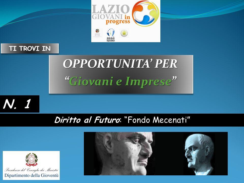 OPPORTUNITA PER Giovani e ImpreseGiovani e Imprese OPPORTUNITA PER Giovani e ImpreseGiovani e Imprese Diritto al Futuro: Fondo Mecenati N. 1 TI TROVI