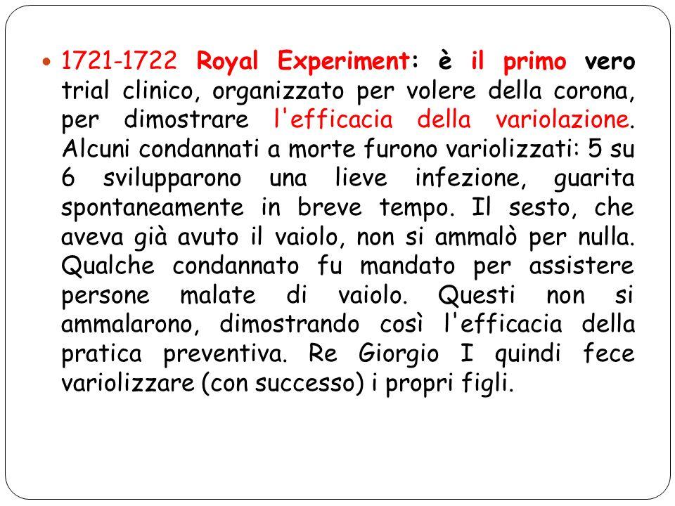 1721-1722 Royal Experiment: è il primo vero trial clinico, organizzato per volere della corona, per dimostrare l efficacia della variolazione.