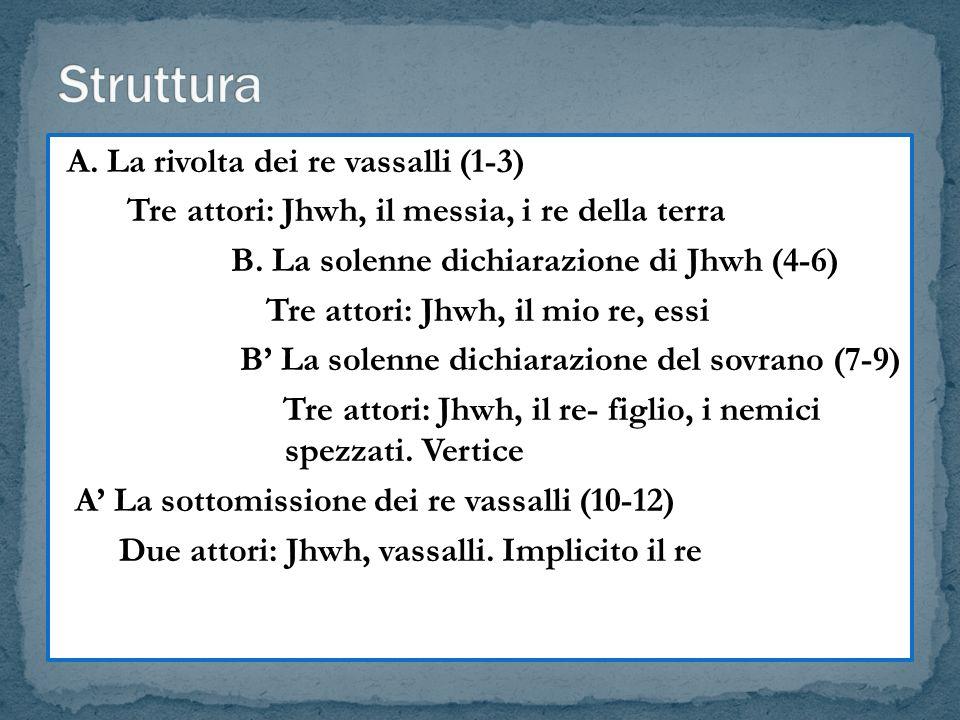 A. La rivolta dei re vassalli (1-3) Tre attori: Jhwh, il messia, i re della terra B. La solenne dichiarazione di Jhwh (4-6) Tre attori: Jhwh, il mio r