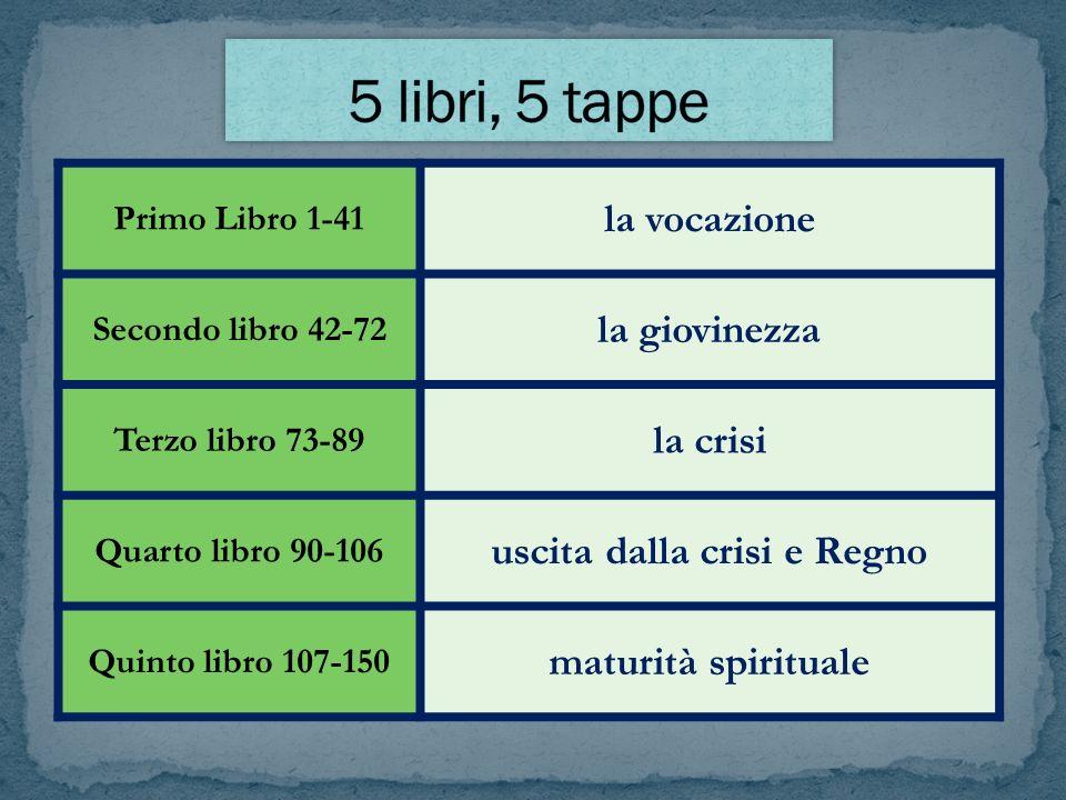 Primo Libro 1-41 la vocazione Secondo libro 42-72 la giovinezza Terzo libro 73-89 la crisi Quarto libro 90-106 uscita dalla crisi e Regno Quinto libro