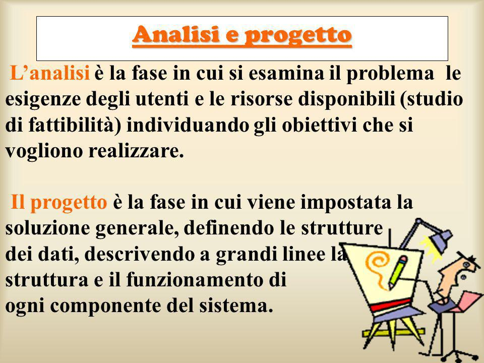 Lanalisi è la fase in cui si esamina il problema le esigenze degli utenti e le risorse disponibili (studio di fattibilità) individuando gli obiettivi