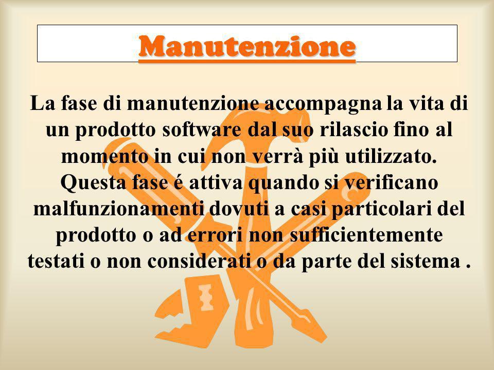 Manutenzione La fase di manutenzione accompagna la vita di un prodotto software dal suo rilascio fino al momento in cui non verrà più utilizzato. Ques