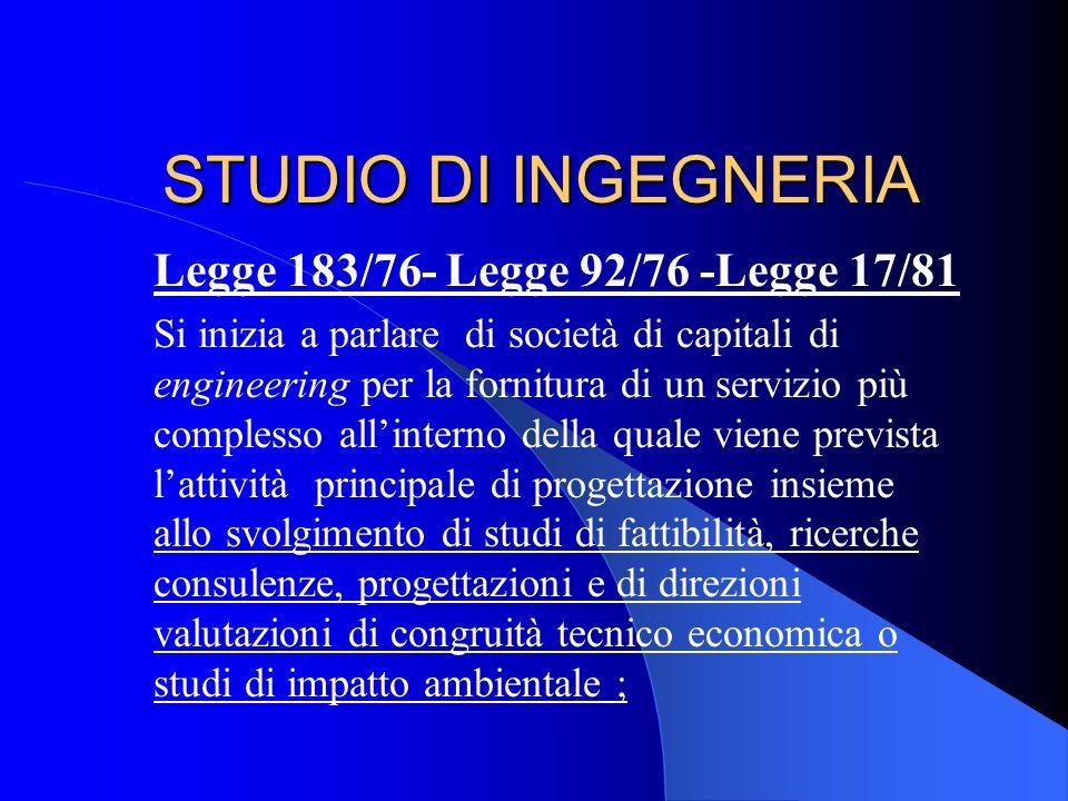 STUDIO DI INGEGNERIA Legge 1815 del 23.11.1939 Legge razziale che vietava la costituzione di società tra professionisti ; Ammetteva solo le associazio