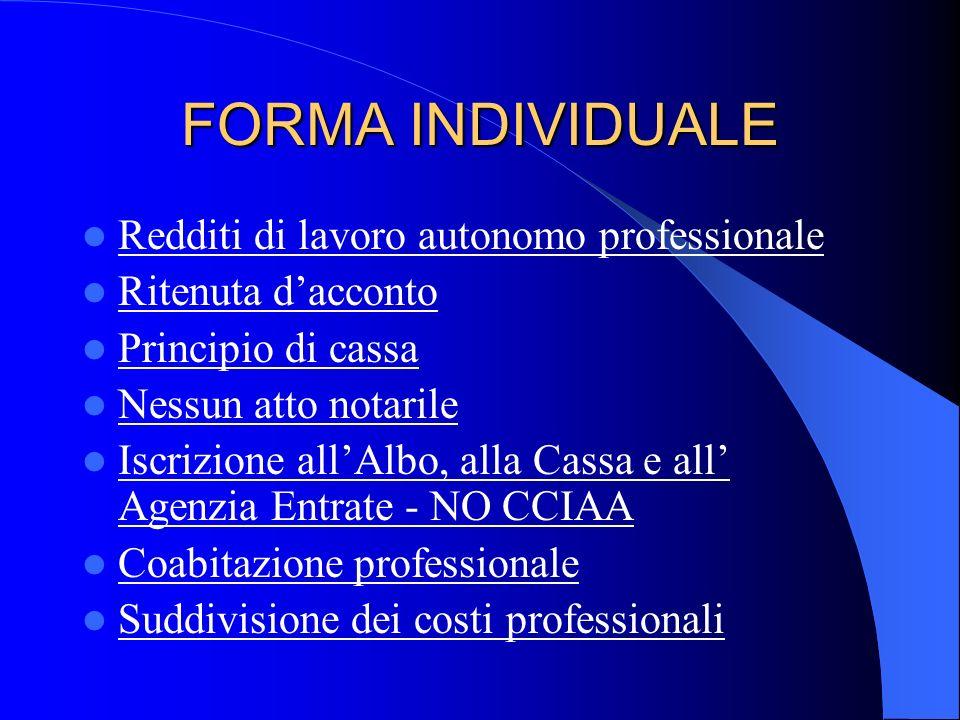 STUDIO DI INGEGNERIA - Forma individuale ; - Associazione senza personalità giuridica (o studio associato) ; - Società semplice ; - Società in nome co
