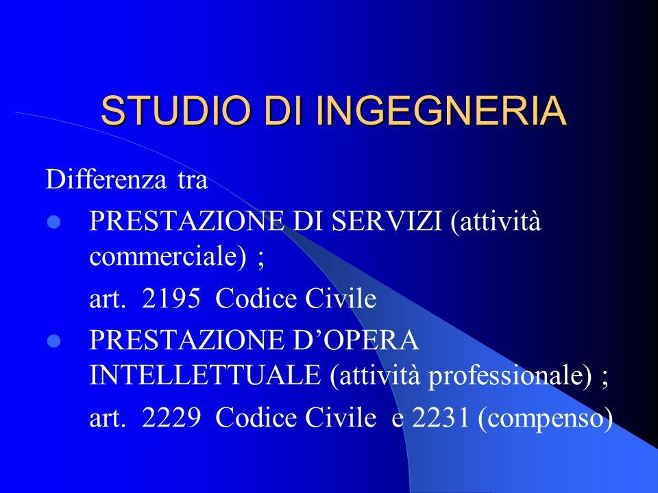 STUDIO DI INGEGNERIA Differenza tra PRESTAZIONE DI SERVIZI (attività commerciale) ; art.