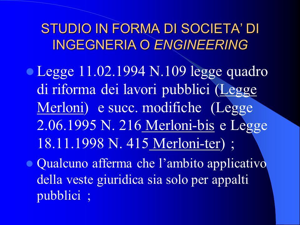STUDIO IN FORMA DI SOCIETA DI PERSONE Sono vere e proprie società commerciali e dopo il divieto della Legge 1815/39 sono costituibili per lattività st