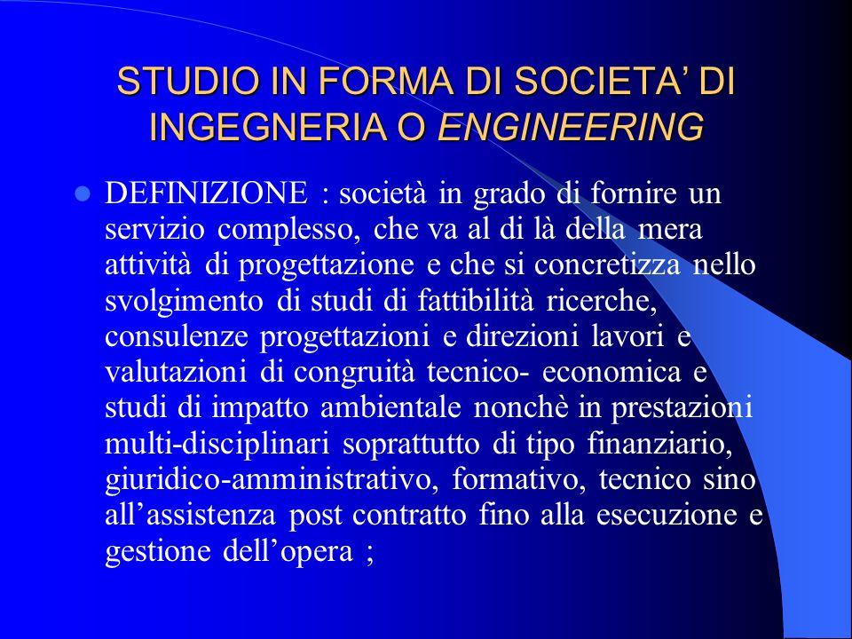 STUDIO IN FORMA DI SOCIETA DI INGEGNERIA O ENGINEERING Legge 11.02.1994 N.109 legge quadro di riforma dei lavori pubblici (Legge Merloni) e succ. modi