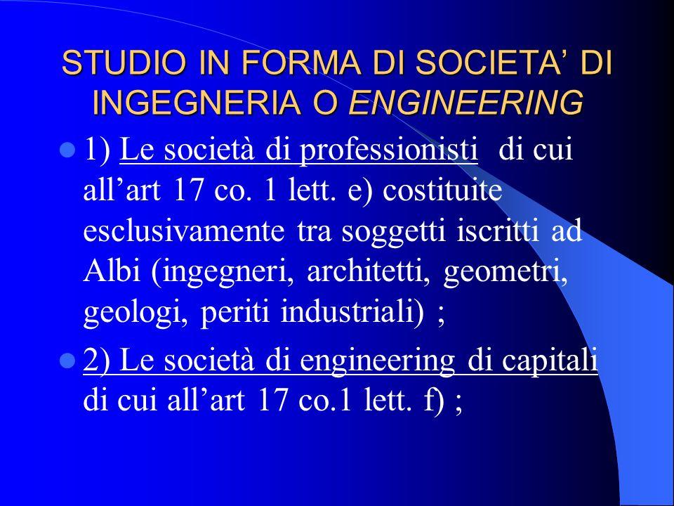 STUDIO IN FORMA DI SOCIETA DI INGEGNERIA O ENGINEERING CONTRATTO DI ENGINEERING : il contratto con il quale un soggetto si impegna ad elaborare un pro