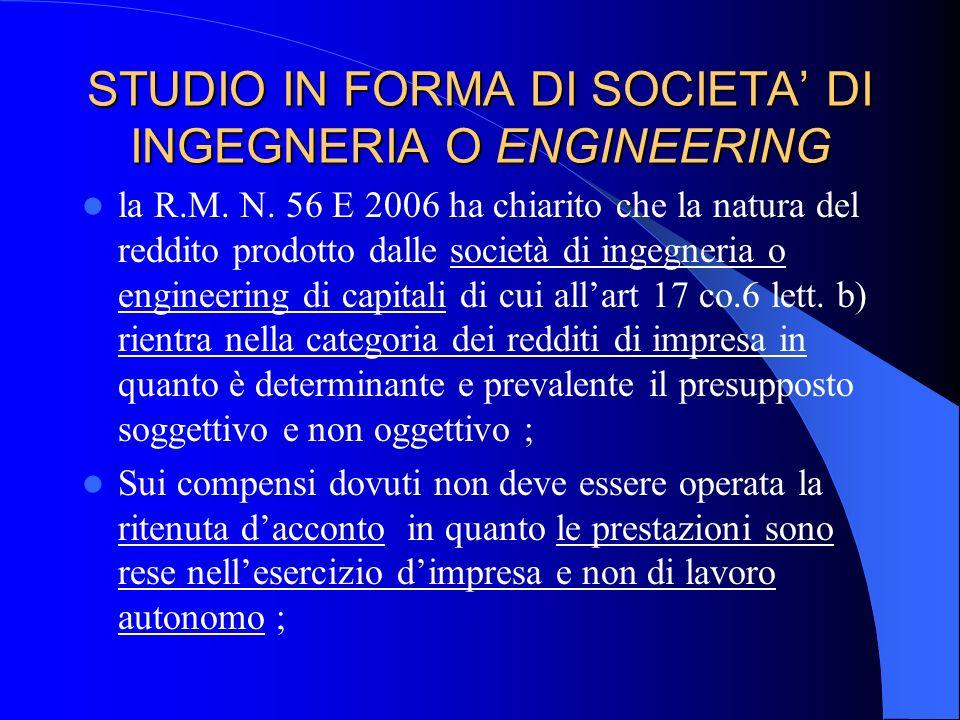 STUDIO IN FORMA DI SOCIETA DI INGEGNERIA O ENGINEERING 2) Le società di engineering di capitali non sono altro che società di capitali il cui ambito c