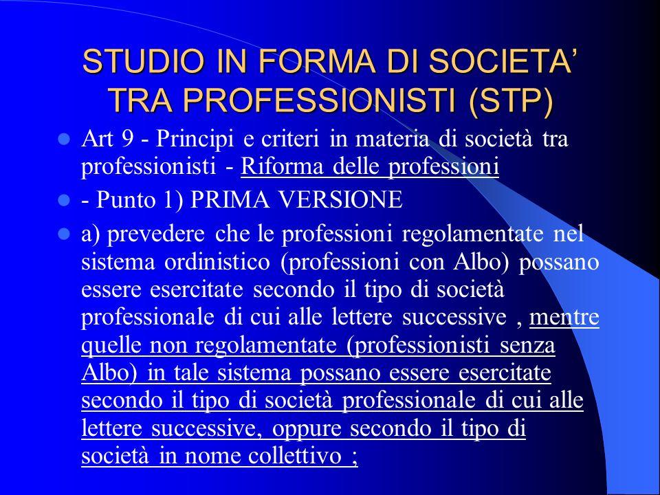 STUDIO IN FORMA DI SOCIETA TRA PROFESSIONISTI (STP) Legge 1815/39 vietava la costituzione di società tra professionisti ; Legge Bersani 266/97 ha abol