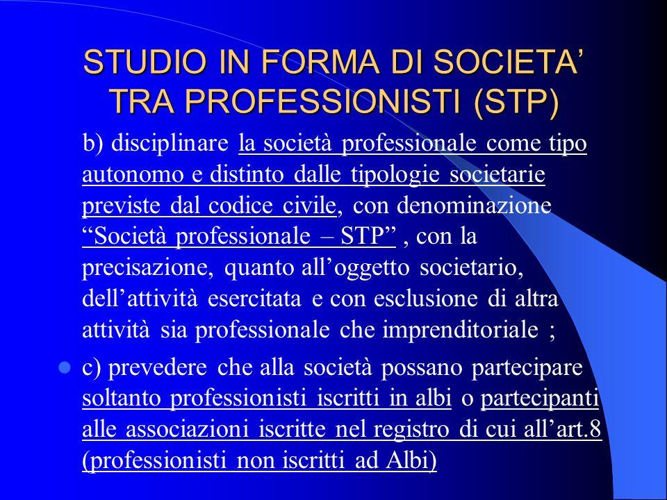 STUDIO IN FORMA DI SOCIETA TRA PROFESSIONISTI (STP) Art 9 - Principi e criteri in materia di società tra professionisti - Riforma delle professioni -