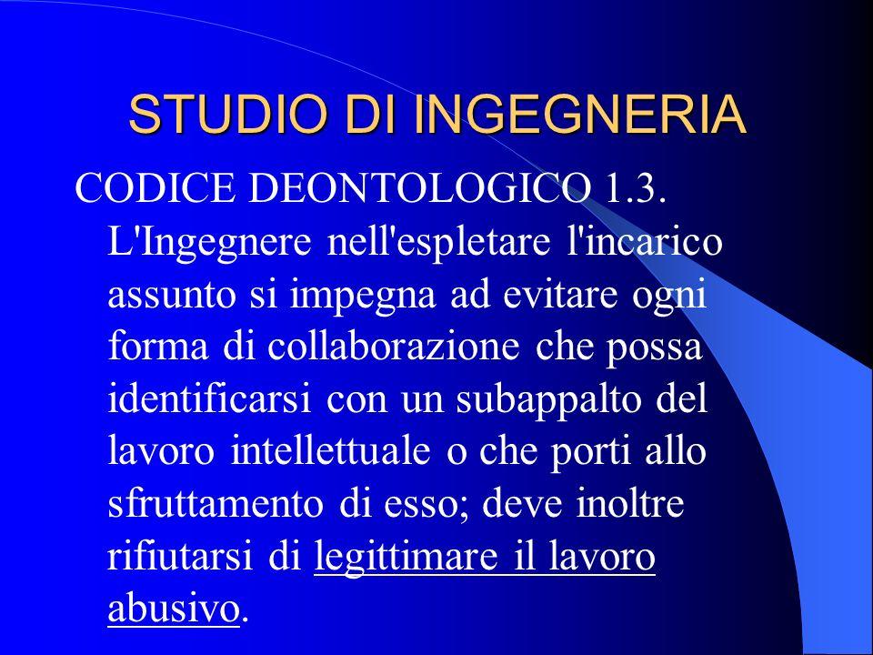 STUDIO DI INGEGNERIA CODICE DEONTOLOGICO 1.3.