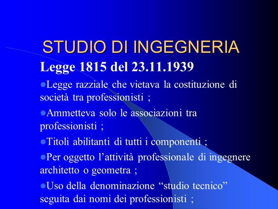 STUDIO IN FORMA DI SOCIETA TRA PROFESSIONISTI (STP) Natura del reddito : R.M.