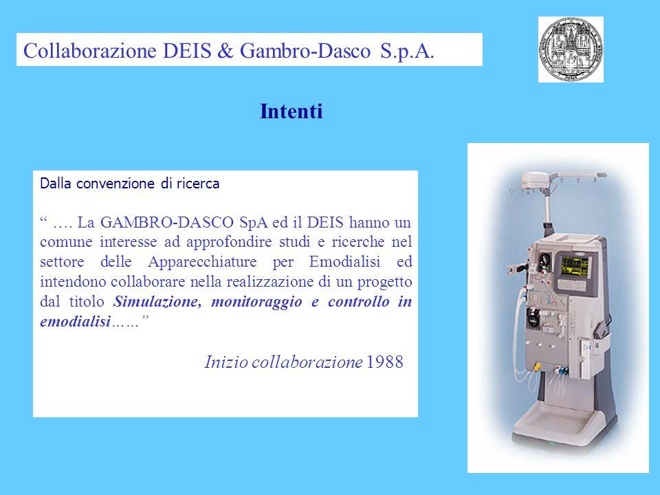 Sensori (BVM, Urea) Misure (BPM, DIASCAN) Terapie (AFBK) Sicurezza (VNM, ECG) Produzione & Collaudo Aree di ricerca Collaborazione DEIS & Gambro-Dasco S.p.A.