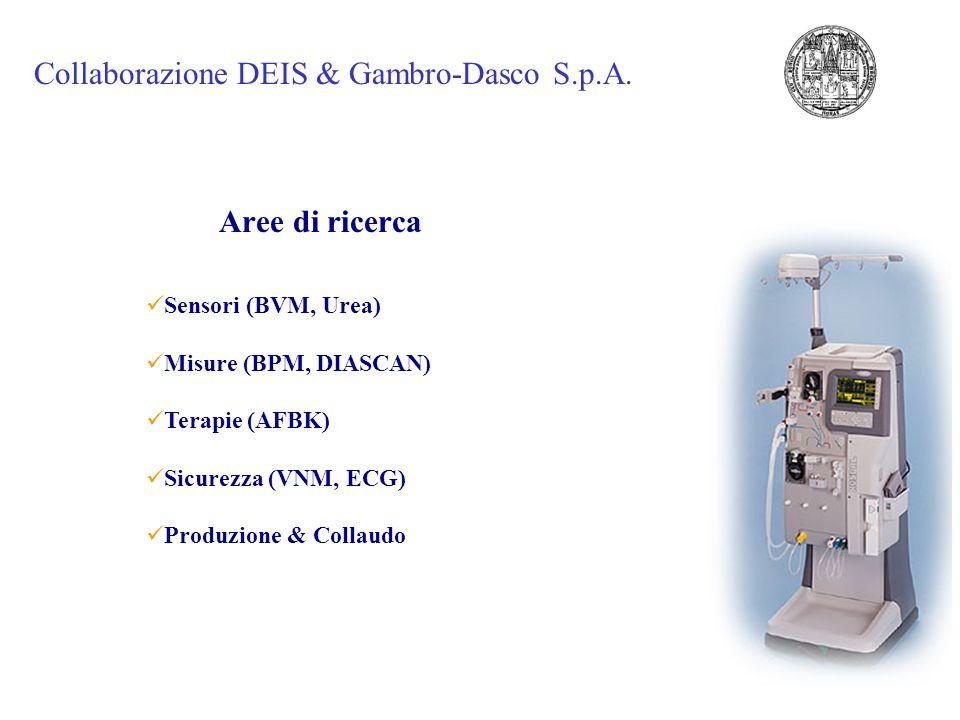 Sensori (BVM, Urea) Misure (BPM, DIASCAN) Terapie (AFBK) Sicurezza (VNM, ECG) Produzione & Collaudo Aree di ricerca Collaborazione DEIS & Gambro-Dasco