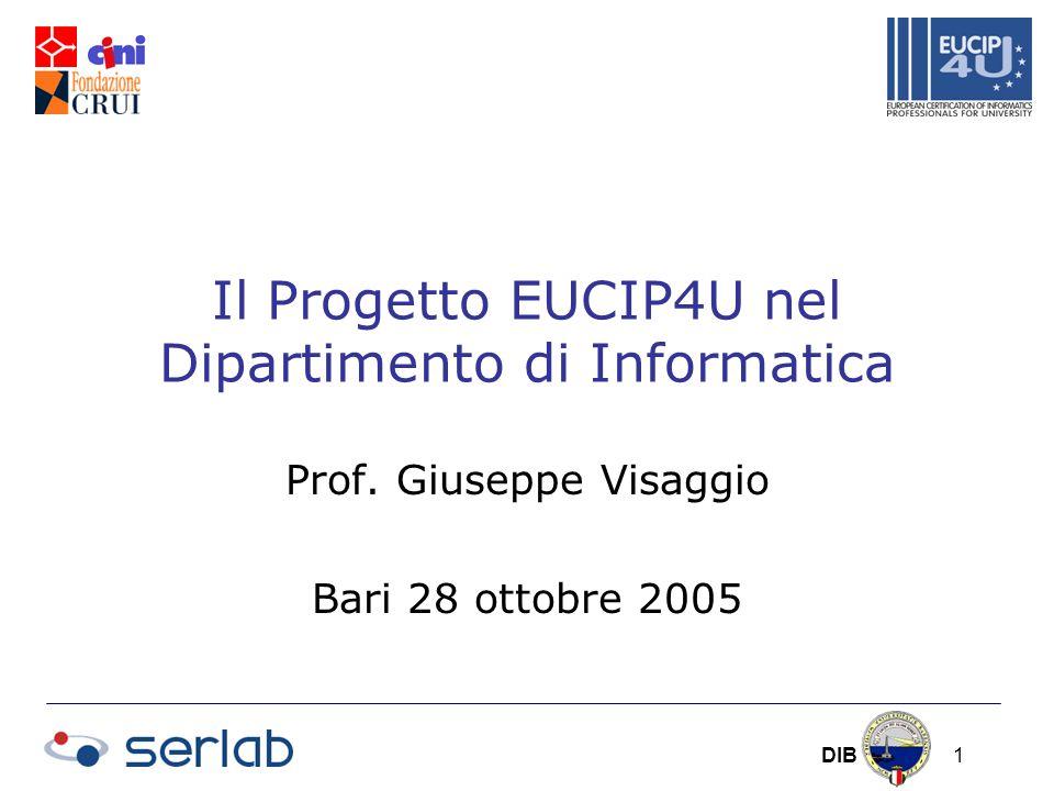 DIB 1 Il Progetto EUCIP4U nel Dipartimento di Informatica Prof.