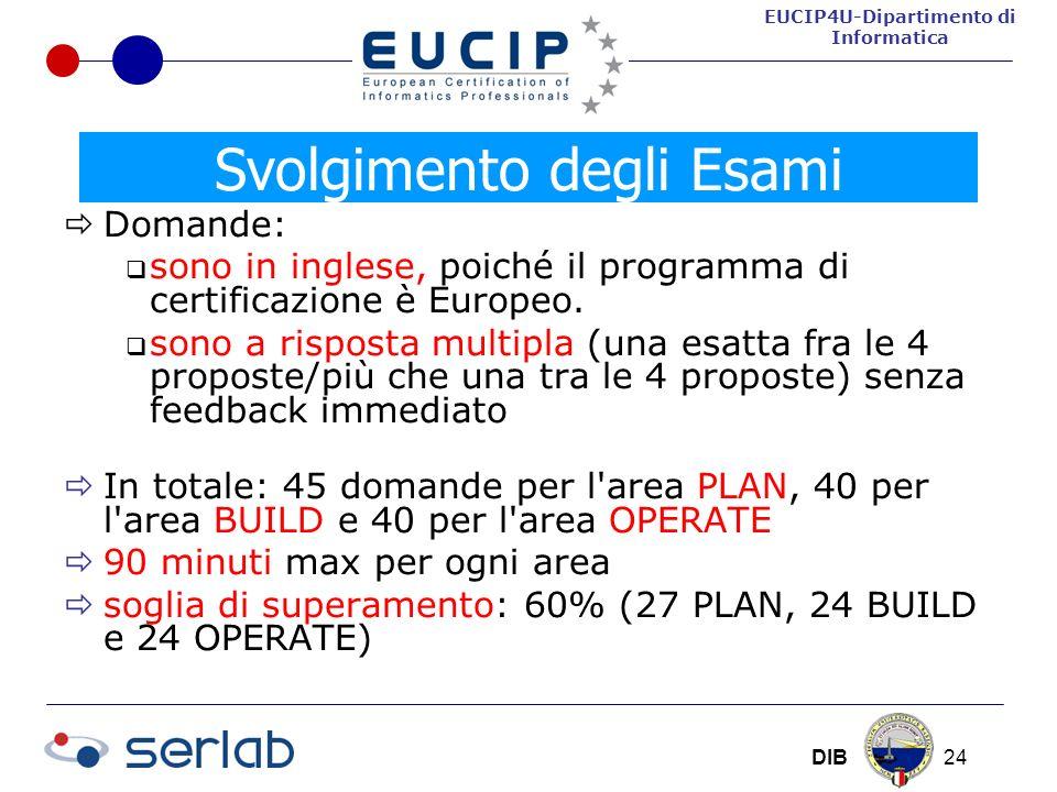 EUCIP4U-Dipartimento di Informatica DIB 24 Domande: sono in inglese, poiché il programma di certificazione è Europeo.