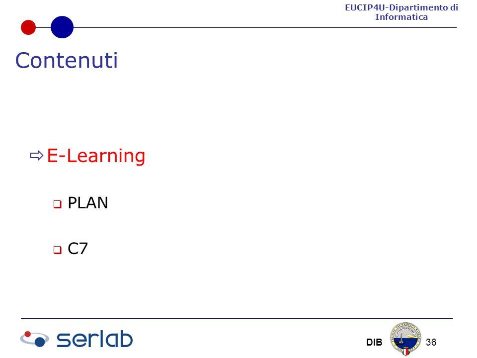 EUCIP4U-Dipartimento di Informatica DIB 36 Contenuti E-Learning PLAN C7