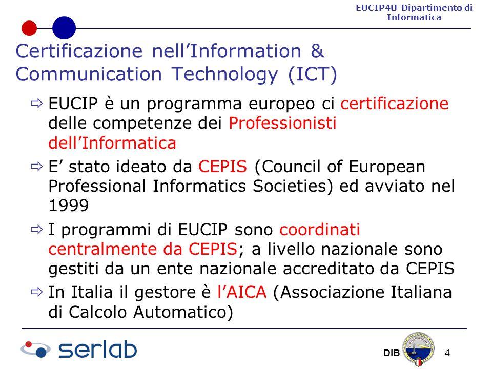 EUCIP4U-Dipartimento di Informatica DIB 4 Certificazione nellInformation & Communication Technology (ICT) EUCIP è un programma europeo ci certificazione delle competenze dei Professionisti dellInformatica E stato ideato da CEPIS (Council of European Professional Informatics Societies) ed avviato nel 1999 I programmi di EUCIP sono coordinati centralmente da CEPIS; a livello nazionale sono gestiti da un ente nazionale accreditato da CEPIS In Italia il gestore è lAICA (Associazione Italiana di Calcolo Automatico)