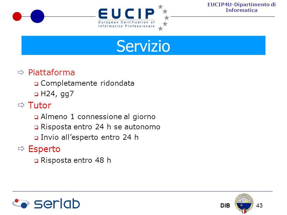 EUCIP4U-Dipartimento di Informatica DIB 43 Piattaforma Completamente ridondata H24, gg7 Tutor Almeno 1 connessione al giorno Risposta entro 24 h se autonomo Invio allesperto entro 24 h Esperto Risposta entro 48 h Servizio
