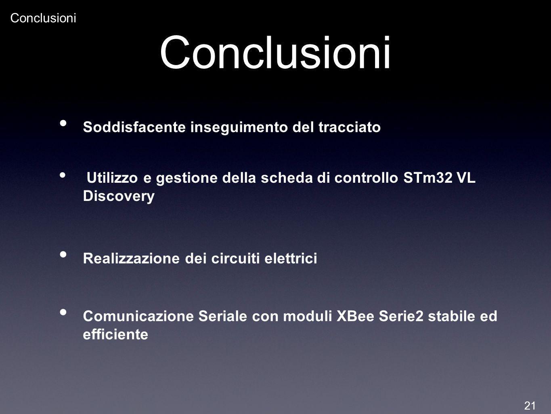 Conclusioni Soddisfacente inseguimento del tracciato Utilizzo e gestione della scheda di controllo STm32 VL Discovery Realizzazione dei circuiti elett