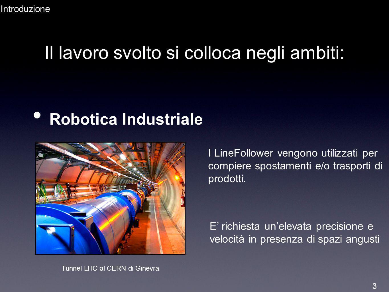 Il lavoro svolto si colloca negli ambiti: Robotica Industriale Tunnel LHC al CERN di Ginevra I LineFollower vengono utilizzati per compiere spostament