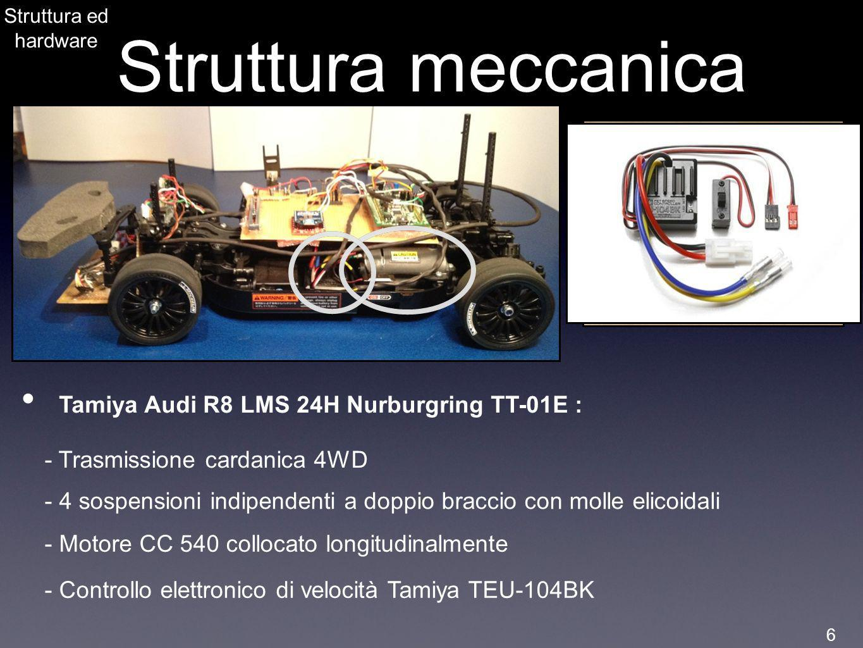 Struttura ed hardware Struttura meccanica Tamiya Audi R8 LMS 24H Nurburgring TT-01E : - Trasmissione cardanica 4WD - 4 sospensioni indipendenti a dopp