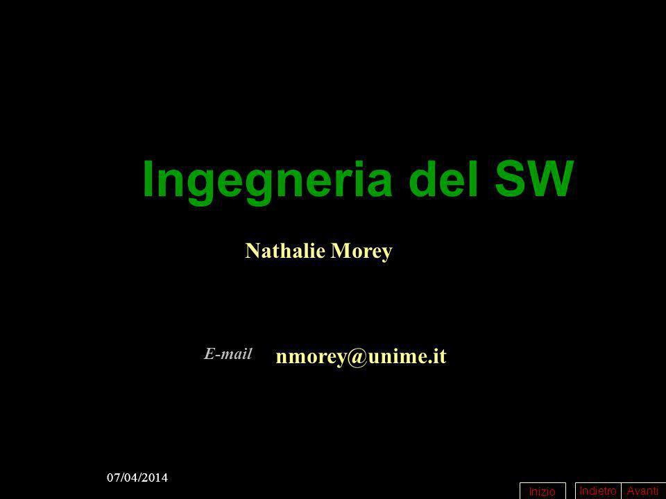 IndietroAvanti Inizio 07/04/2014 Ingegneria del SW Nathalie Morey nmorey@unime.it E-mail