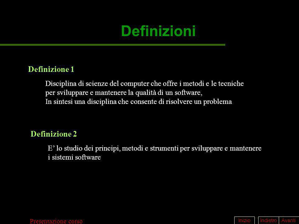 IndietroAvantiInizio Presentazione corso Definizioni Definizione 1 Disciplina di scienze del computer che offre i metodi e le tecniche per sviluppare