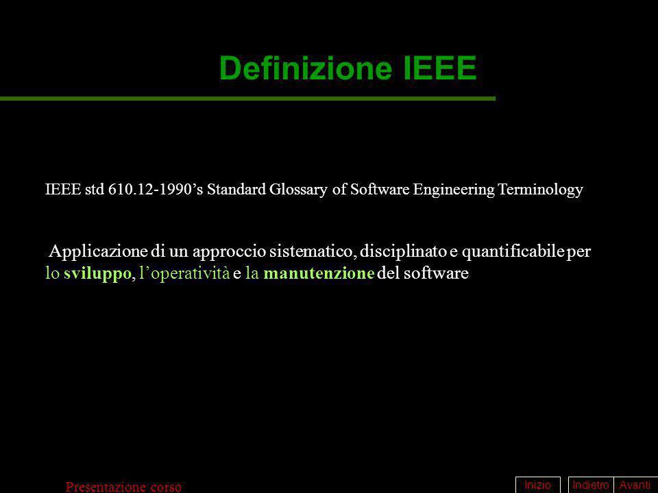 IndietroAvantiInizio Presentazione corso Definizione IEEE Applicazione di un approccio sistematico, disciplinato e quantificabile per lo sviluppo, lop